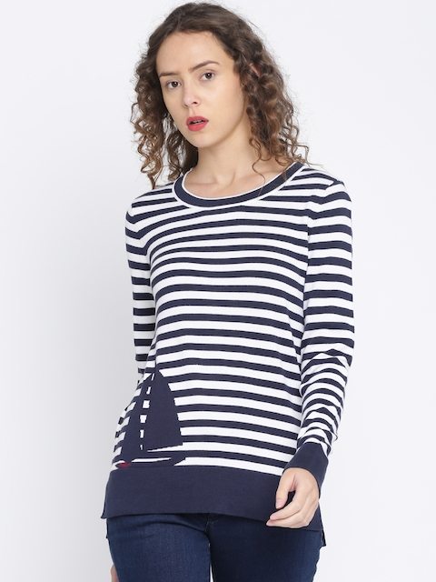 Tommy Hilfiger Women Navy Blue & White Striped Pullover