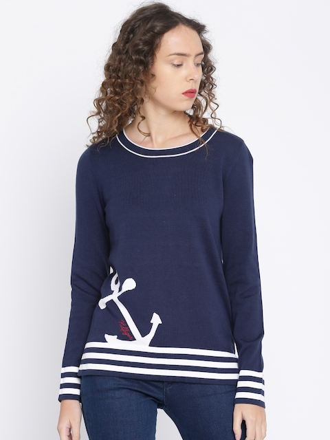 Tommy Hilfiger Women Navy Blue Pullover