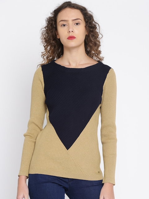 Tommy Hilfiger Women Brown & Navy Blue Colourblocked Pullover