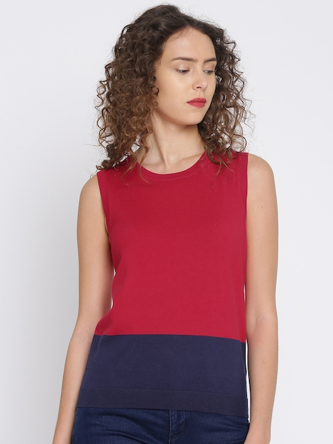Tommy Hilfiger Women Red & Navy Blue Colourblocked Pullover Sweater