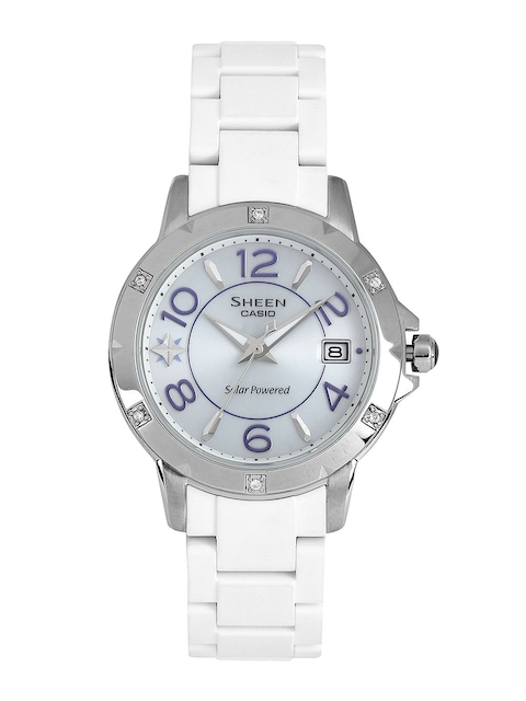 CASIO Sheen Women Silver-Toned Dial Solar-Powered Watch SX065