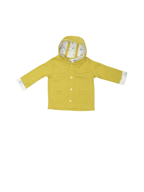 MINI KLUB Boys Mustard Yellow Solid Open Front Jacket  available at myntra for Rs.719