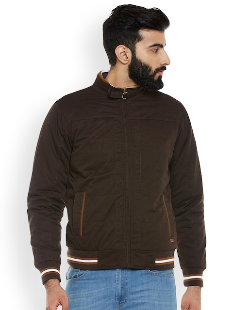 Duke Men Coffee Brown Solid Biker Jacket