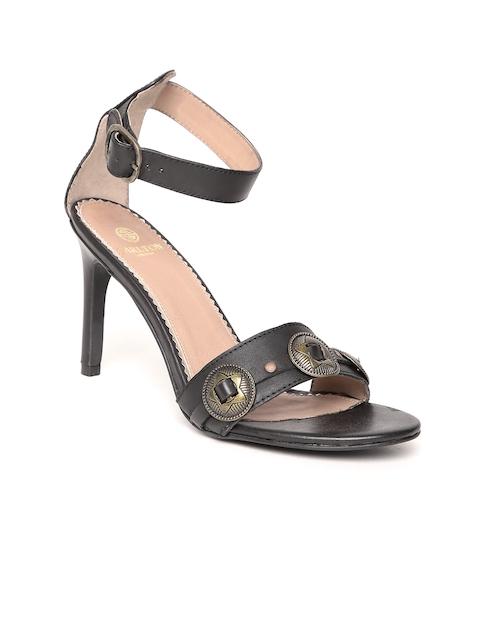 Carlton London Women Black Embellished Leather Sandals