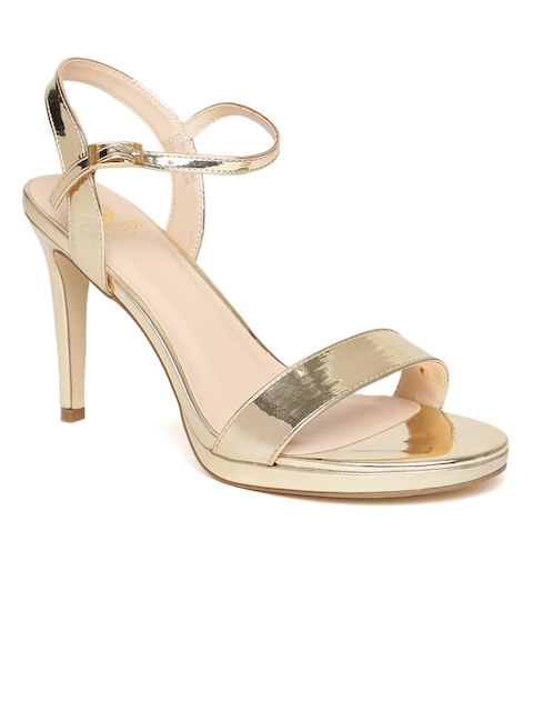 Carlton London Women Gold-Toned Solid Sandals