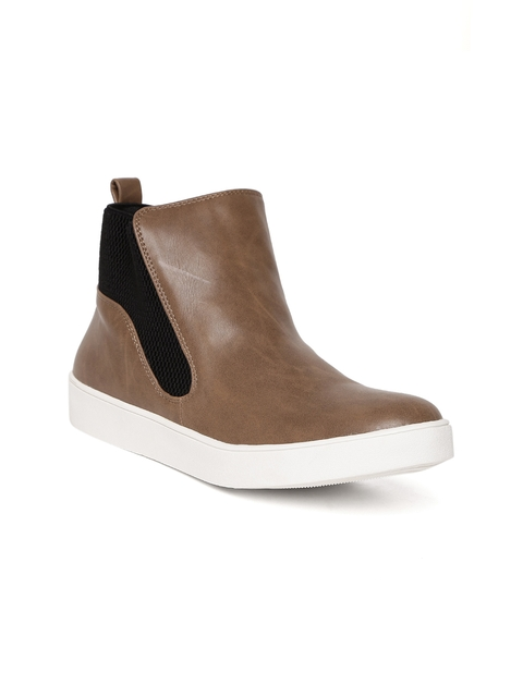Carlton London Women Brown Solid Mid-Top Sneakers