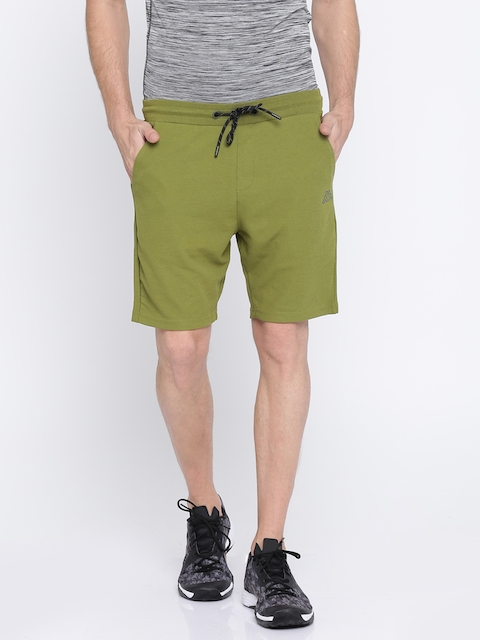Kappa Men Olive Green Solid Regular Fit Sports Shorts