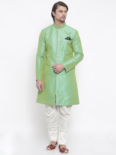 Shahjada Green & Cream Patterned Nawabi Sherwani