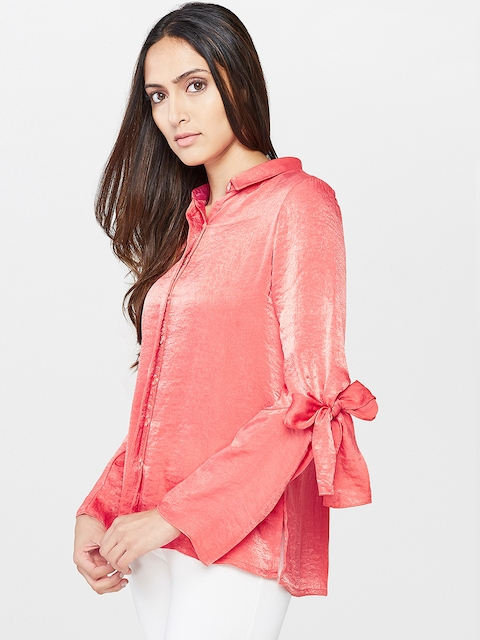 AND Women Coral Red Regular Fit Solid Casual Shirt