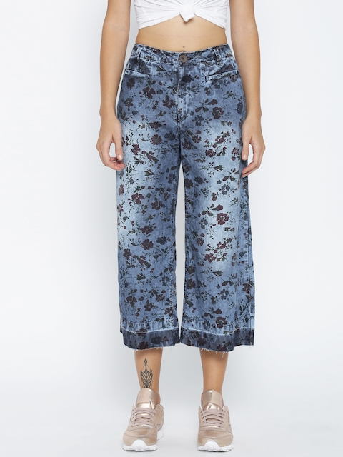 Pepe Jeans Women Blue Flared Printed Culottes