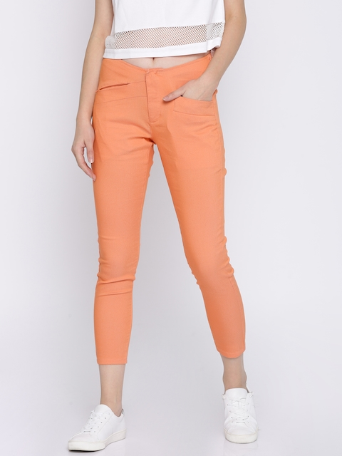 Pepe Jeans Women Coral Orange Regular Fit Solid Cropped Trousers