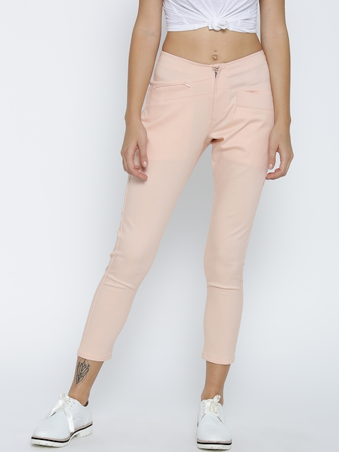 Pepe Jeans Women Peach-Coloured Cropped Trousers