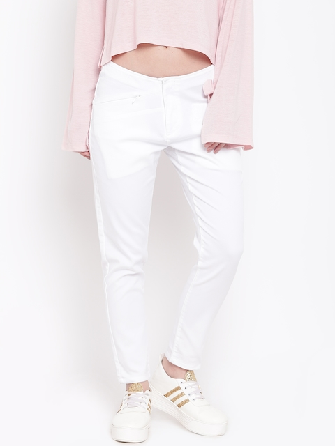 Pepe Jeans Women White Regular Fit Solid Regular Trousers