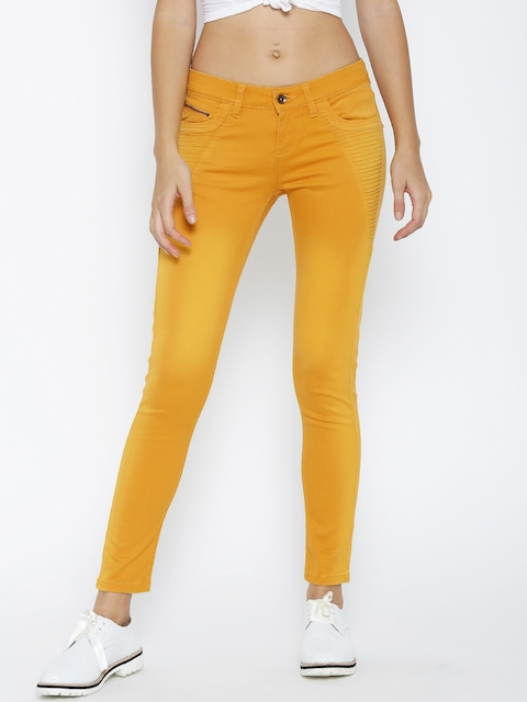 Pepe Jeans Women Mustard Yellow Skinny Fit Solid Trousers