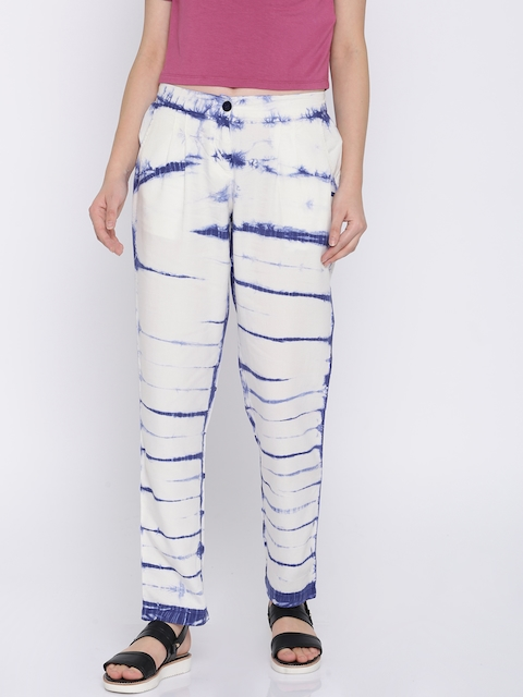 Pepe Jeans Women White & Blue Regular Fit Printed Trousers