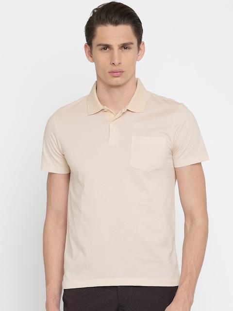 Arrow Men Beige Solid Polo T-shirt