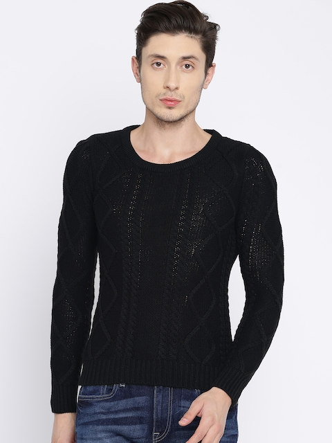 People Men Black Self Design Pullover