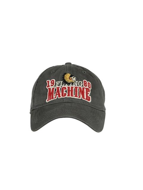 Flying Machine Men Grey Solid Baseball Cap