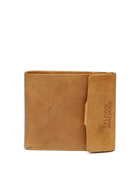 Flying Machine Men Tan Brown Leather Two Fold Wallet