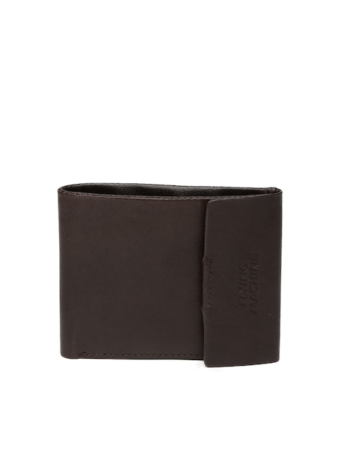 Flying Machine Men Coffee Brown Leather Two Fold Wallet