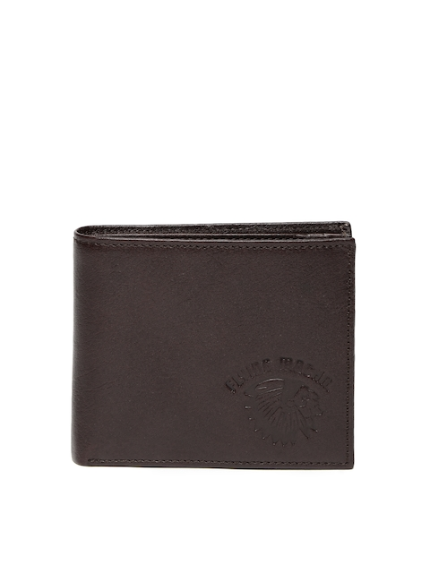 Flying Machine Men Brown Leather Two Fold Wallet
