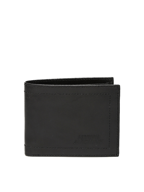 Flying Machine Men Black Two Fold Leather Wallet
