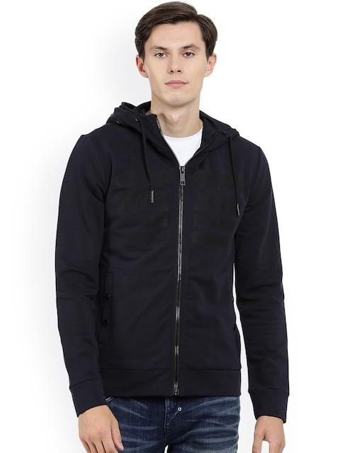 Antony Morato Men Navy Blue Solid Hooded Front-Open Sweatshirt