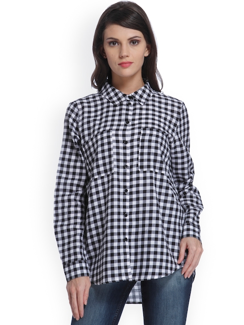 ONLY Women Black & White Regular Fit Checked Casual Shirt