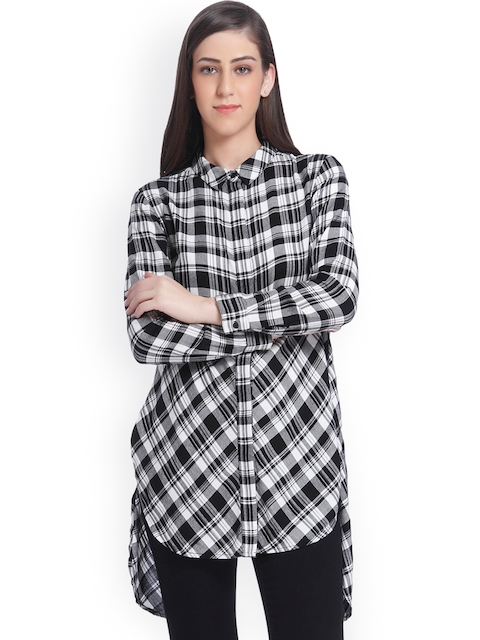 ONLY Women Black & Off-White Regular Fit Checked Casual Longline Shirt