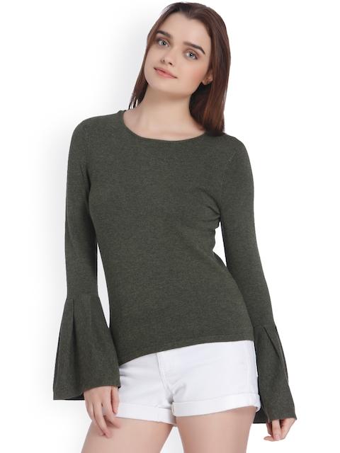 Vero Moda Women Olive Green Solid Pullover Sweater