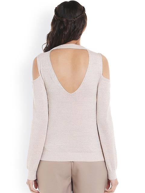 Vero Moda Women Beige Self-Design Pullover