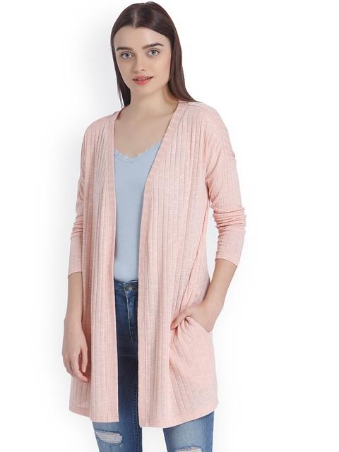 Vero Moda Pink Striped Open Front Shrug