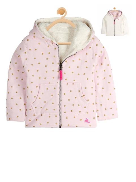 Cherry Crumble Girls Pink & White Printed Hooded Reversible Sweatshirt