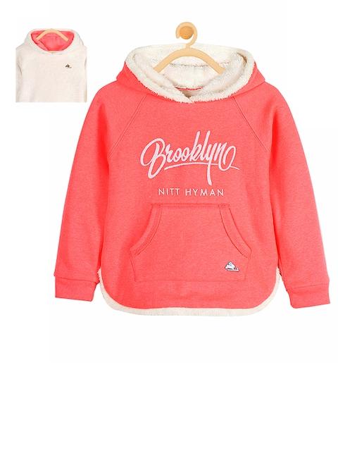 Cherry Crumble Girls Coral & White Printed Sweatshirt