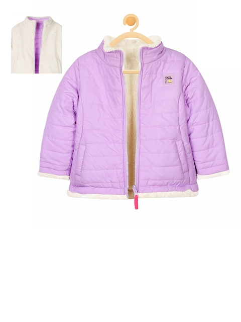 Cherry Crumble Unisex Purple Solid Reversible Puffer Jacket