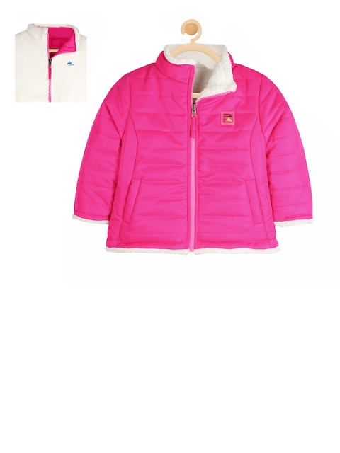 Cherry Crumble Unisex Pink Solid Reversible Open Front Jacket