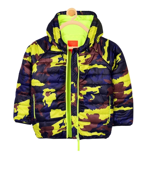 Cherry Crumble Unisex Blue Printed Puffer Jacket