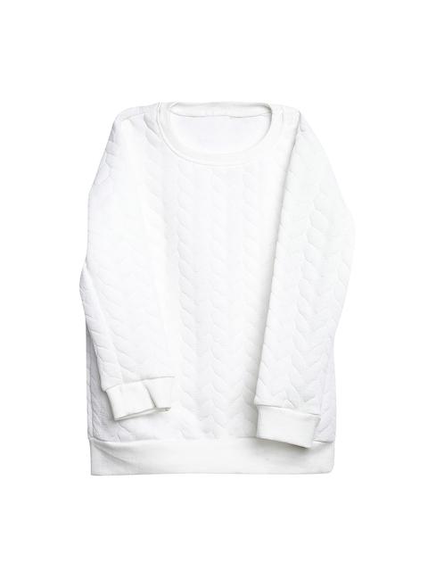 Bella Moda Boys White Self-Design Sweatshirt