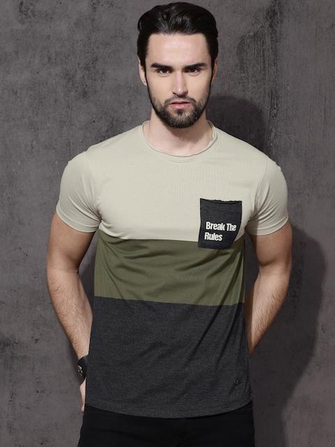 Roadster Men Beige Colourblocked Round Neck T-shirt