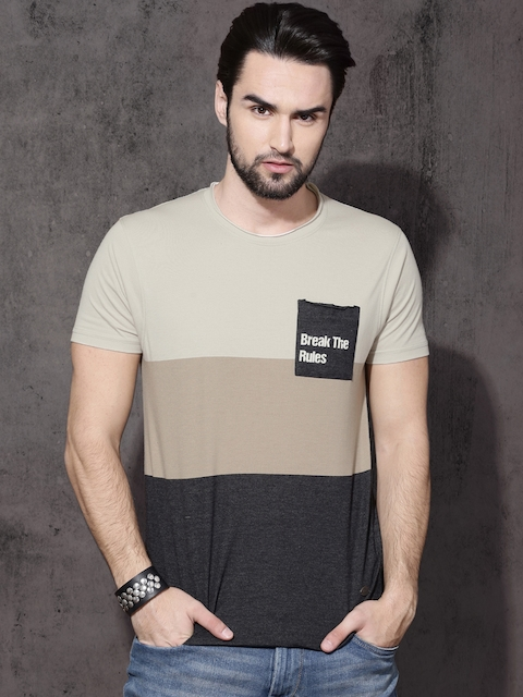 6b268fbf8 60%off Roadster Men Beige   Charcoal Grey Colourblocked Round Neck T-shirt