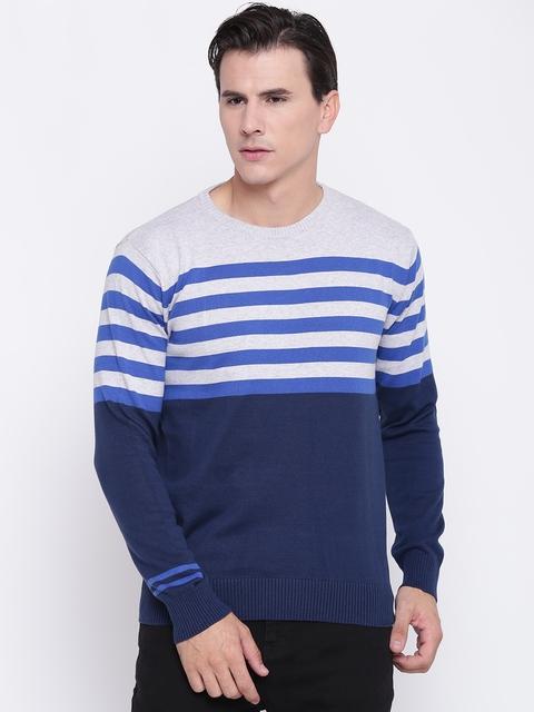 Pepe Jeans Men Navy Blue & Grey Melange Striped Pullover