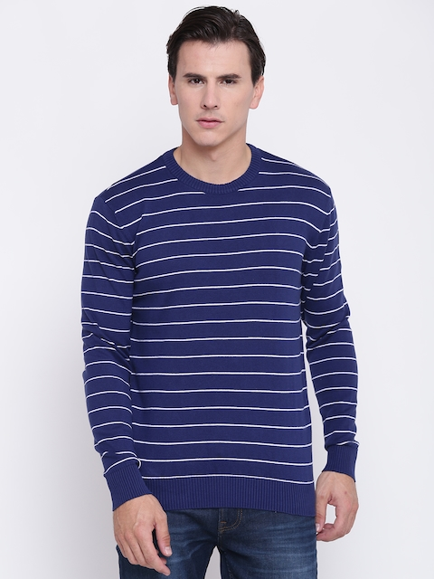 Pepe Jeans Men Blue & White Striped Pullover