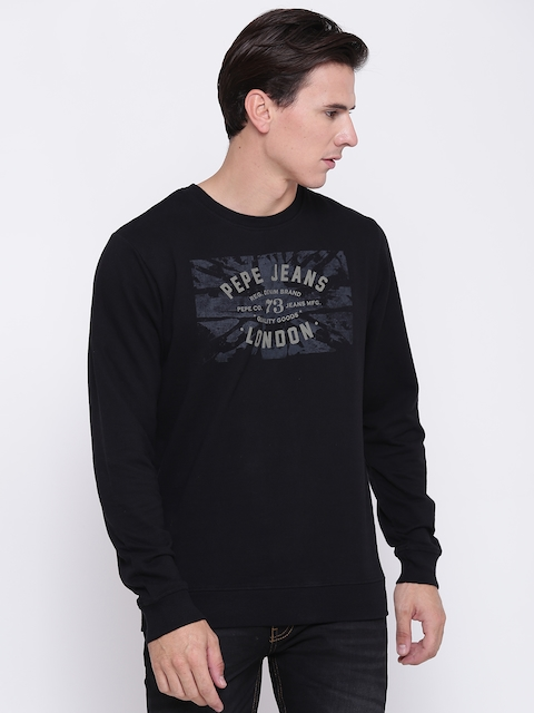 Pepe Jeans Men Black Printed Sweatshirt