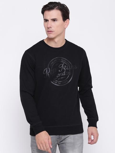 Pepe Jeans Men Black Brand Print Sweatshirt