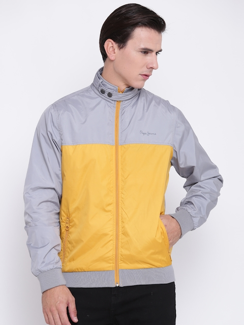 Pepe Jeans Men Grey & Yellow Colourblocked Bomber Jacket