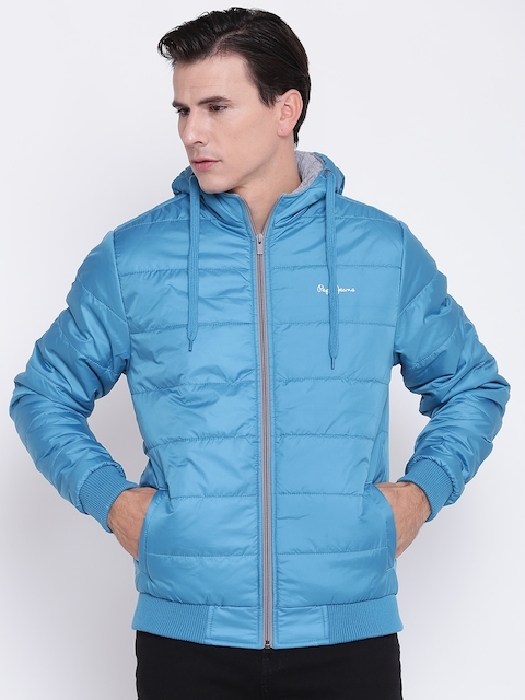 Pepe Jeans Men Blue Solid Hooded Quilted Jacket