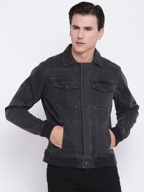 Pepe Jeans Men Charcoal Grey Solid Denim Jacket
