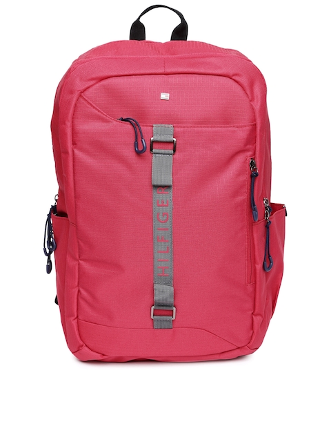 Tommy Hilfiger Unisex Coral Red Solid Backpack