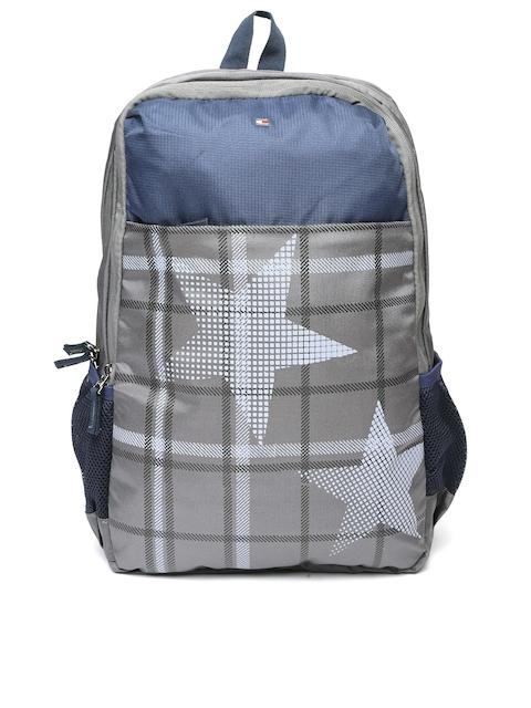 Tommy Hilfiger Unisex Grey & Navy Blue Printed Backpack