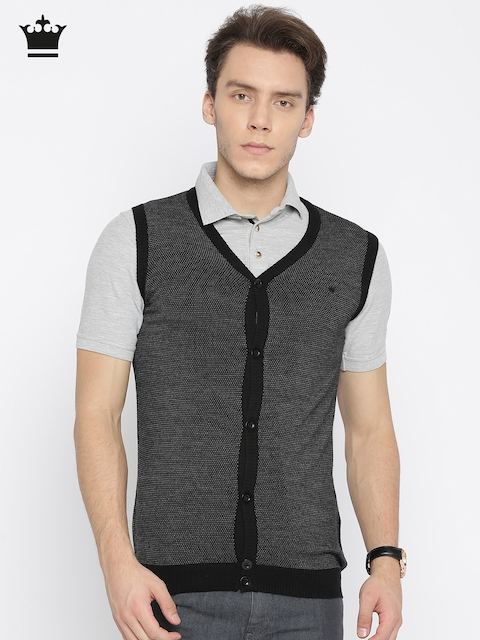 Louis Philippe Men Black Self Design Sweater Vest